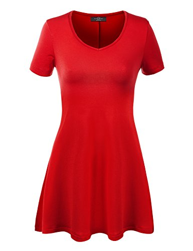 Made By Johnny WT769 Womens V Neck Trapeze Tunic XXXL RED