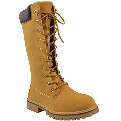 Winter High Size Honey Knee Combat Cold Thirsty Faux Nubuck Shoes Boots Army Winter Womens Fashion UBwgYxnqp4