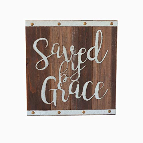 Paris Loft Saved by Grace Wood and Metal Sign, 11.8''x12.6'' Farmhouse Wall Art Sign Plaque Christian Saying Housewarming Gift Bible Decor ¡­ ()