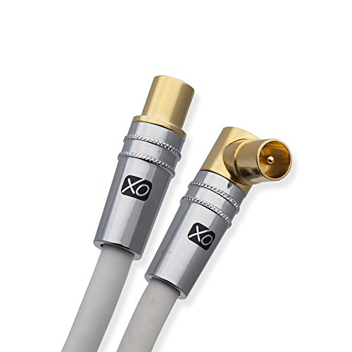 XO - 8m Male to Male Shielded TV/AV Aerial Coaxial Cable with 90 Degree Right Angled Gold Plated Connector and Metal Plug For UHF / RF TVs, VCRs, DVD players, DVRs, cable boxes and satellite - White