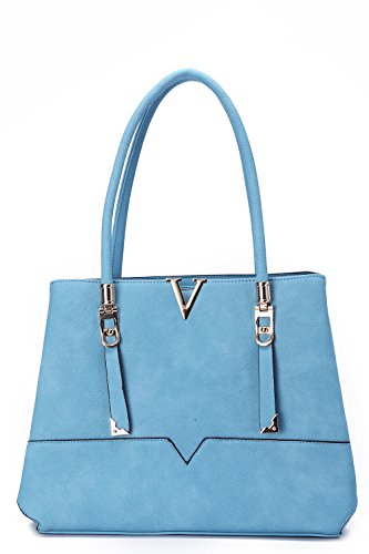 MKF Collection Flora Designer Handbag, Crossbody Bag, Beautiful Women, (Blue)