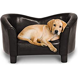 Giantex Pet Sofa PU Leather Pet Lounge Sofa Portable Snuggle Couch Bed Home Comfortable Puppy Dog Cat Sleeping Bed for Indoor use, Dark Brown