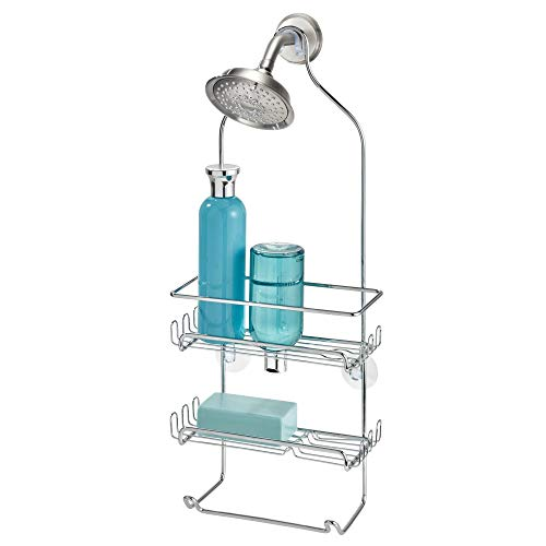 InterDesign Milo Metal Wire Hanging Shower Caddy, Baskets Bar for Shampoo, Conditioner, and Soap with Hooks for Razors, Towels, and More, 4.25