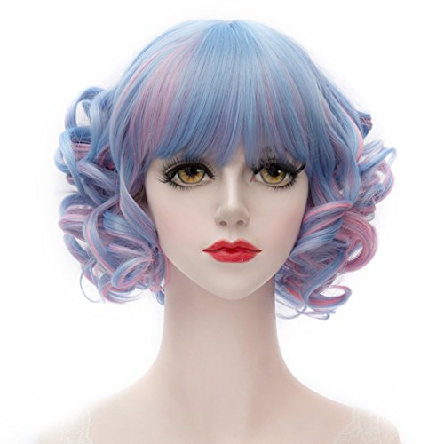 MQ Cosplay Wig COS Lolity Short Curly Wave Hair 1177 (Blue to Pink) (Curly Blue Wig)