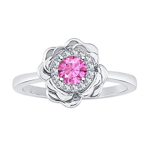 (RUDRAFASHION Wonderful 14K White Gold Plated White & Pink Sapphire Cluster Flower Ring)