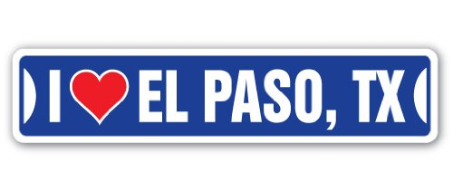 I Love El Paso, Texas Street [3 Pack] of Vinyl Decal Stickers | 1.5