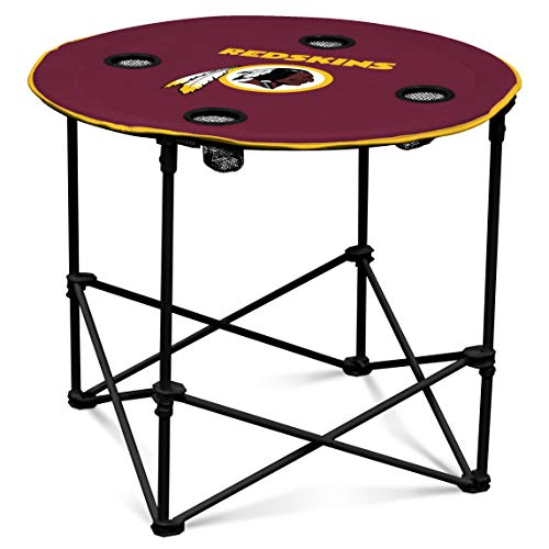 Washington Redskins  Collapsible Round Table with 4 Cup Holders and Carry Bag - Washington Redskins Holder