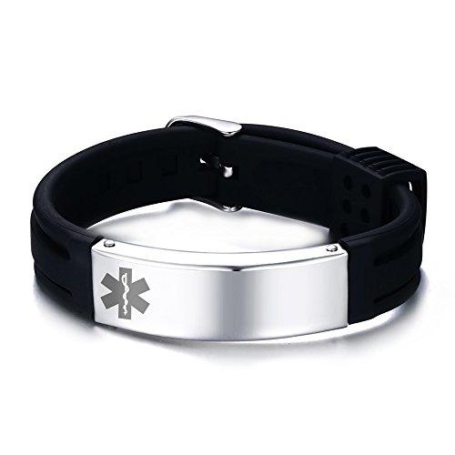 Free Engraving-Silicone Stainless Steel Medical Alert ID Adjustable Identification Bracelet,Black by VNOX