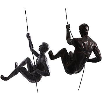 Ibnotuiy Set of 2 Nordic Retro Resin Climbing Man Wall Sculptures Creative Hand-Finished Figurine Bar/Home/Office Art Decor Sculpture (Set C, Copper Black)
