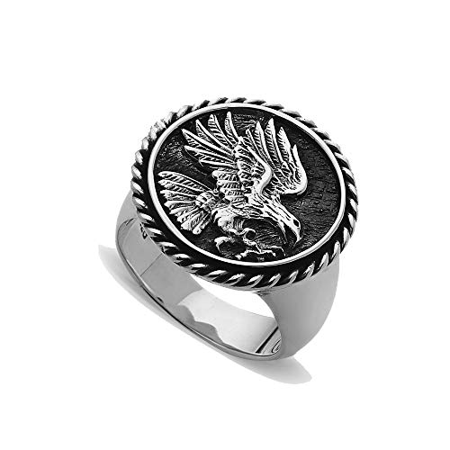 Men's Stainless Steel 3D Coin American Eagle Signet Ring (9)