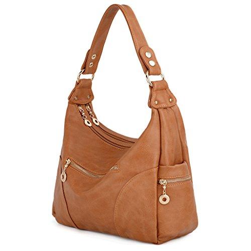 UTO Women Handbag PU Leather Purse Hobo Style Multi Pocktets Shoulder Bag B Brown 191 ()