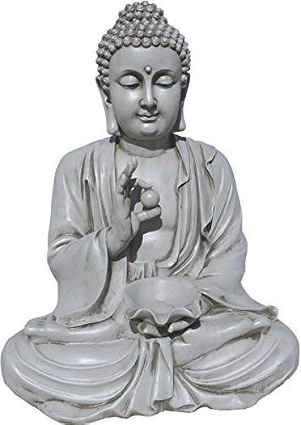 AnaParra Estatua Buda Prosperidad Figura Decorativa para Jardín o Exterior Hecho de Piedra Artificial | Figura Buda 80cm. Color Natural Musgo: Amazon.es: Jardín