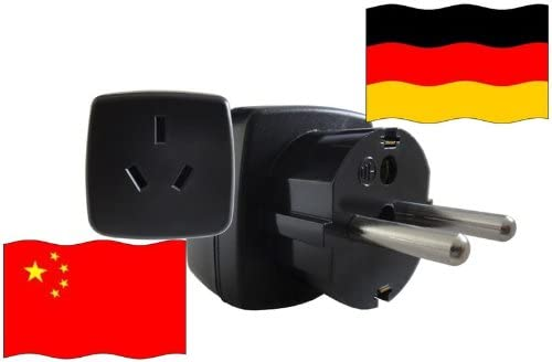 Urlaubs-Reisestecker mit Schutzkontakt f/ür Deutschland 250 Volt China Reiseadapter