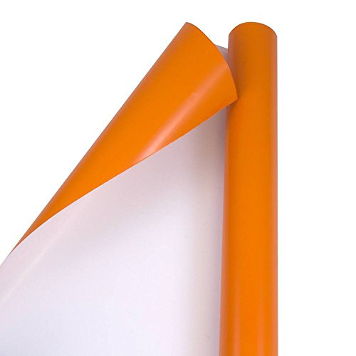 JAM PAPER Gift Wrap - Glossy Wrapping Paper - 25 Sq Ft - Orange - Roll Sold Individually
