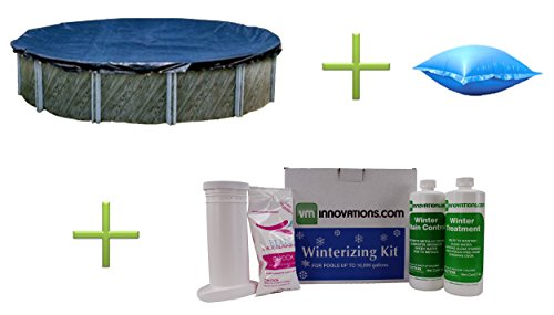 Kit Winterizing Pool Swimming - Swimline 18' Round Above Ground Pool Cover + 4x8 Air Pillow + Winter Closing Kit