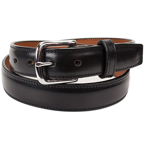 Handmade Italian Leather Dress Belt (Size 40, Black) (Mens Leather Dress Belts Made In Usa)