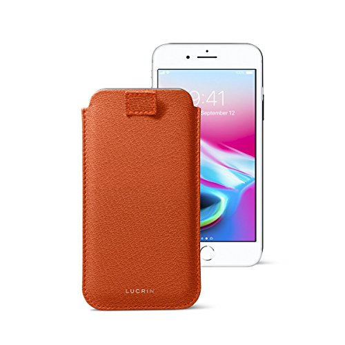 New Lucrin - iPhone 8/7/ 6 Ultra Slim Sleeve, Protective Soft Case with Pull-Up Strap - Orange - Goat Leather orange iphone 8 case 5
