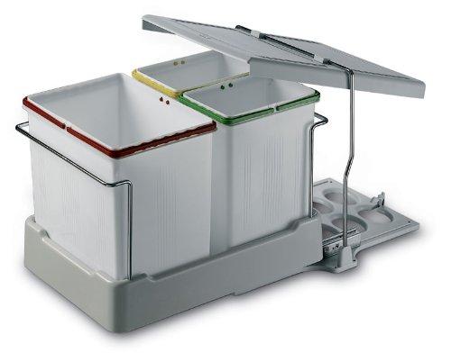 3 fach küchen einbau abfalleimer electa2 1x 16 liter und 2x 7 5