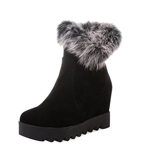 AgeeMi Shoes Mujer Cremallera Puntera Redonda Tacón Medio Tacón Grueso Boots Negro