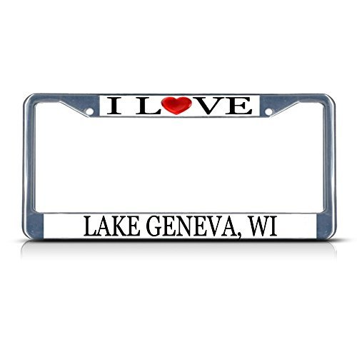 Bhartia I Love Heart Lake Geneva, Wi Chrome Metal License Plate Frame Stainless Metal Car Tag Holder 12
