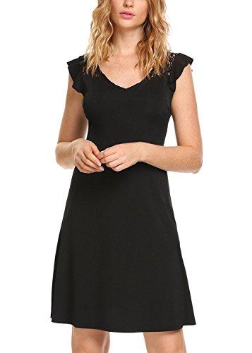 Zeela Women's V-Neck Flutter Sleeve Lace Patchwork Slim Business A-Line Casual (Flutter Sleeve Mini Dress)
