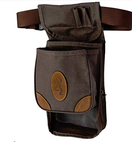 Browning 121388693 Lona, Canvas/Leather Large Deluxe Shell Pouch, Flint/Brown, 6