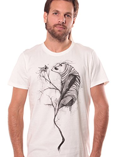 Street Habit Panda Trance Crew Neck Top - Men's Print T-Shirt - Durable Fabric Cotton Top for Men - Silk Printed Urban Clothes in White Dirty - XL Silk Cotton Crewneck T-shirt