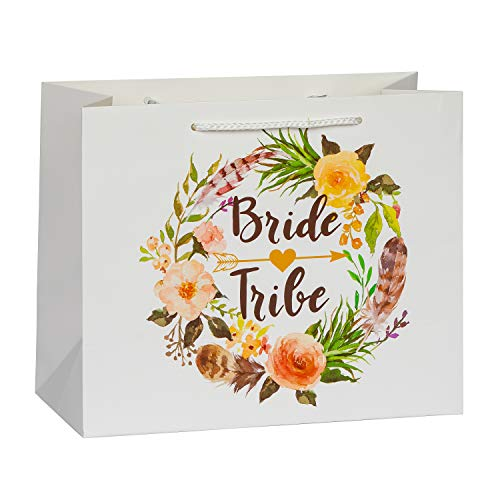 Bride Tribe Bridesmaid Gift Bags by SASSY BACH (Set of 10) Floral Gift Bags for Bridesmaid Gifts, Bridesmaid Proposal and Bachelorette Party Bags for Bachelorette Party Favors -