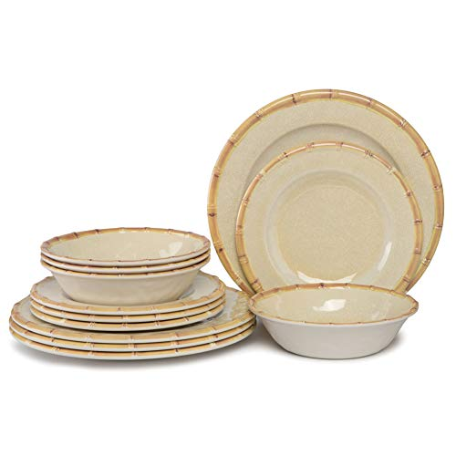 Plates and Bowls Set - 12pcs Melamine Dishes Dinnerware Set for Indoor and Outdoor Eating, Break-resistant, Dishwasher Safe