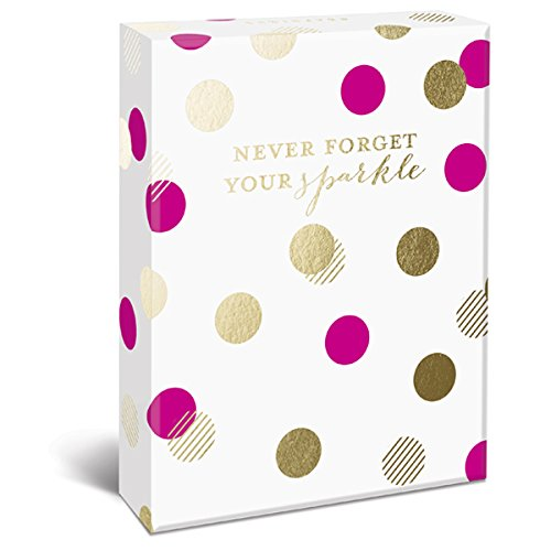 """Graphique Sparkle Assorted Boxed Notecards, 20 Embellished Gold Foil Fun Sparkle Cards on Coated Cardstock, with 4 Designs, Matching Envelopes and Storage Box, 4.25"""" x 6"""""""