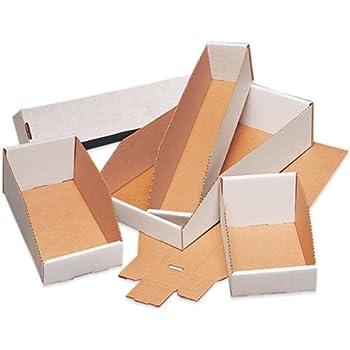 "Aviditi BINMT412 Corrugated Open Top Bin Box, 12"" Length x 4"" Width x 4-1/2"" Height, Oyster White (Case of 50)"