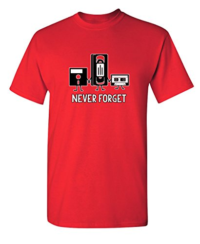 Back Vintage T-shirt - Never Forget Funny Retro Music Mens Novelty Funny T Shirt M Red