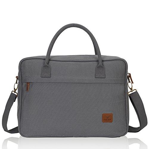 Veegul Canvas Laptop Shoulder Bag 15.6 inch Grey