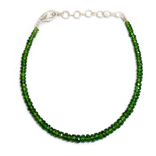 - Myhealingworld Natural Faceted Dark Green Color Gemstone Beads 6.5 Inch Beaded Bracelet with Additional 2 inch Extension. Bead Size Varies from 2mm to 5mm.