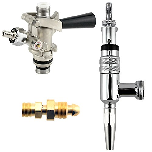 Partial Guinness Stout Conversion Kit - Chrome Faucet + U System Coupler + Tank Adapter (Kit Coupler Conversion)