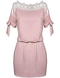 Eloise Isabel Fashion Mulheres vestidos de verão de moda rendas patchwork ver através oco out cintura elástica verão dress festa à noite elegante dress