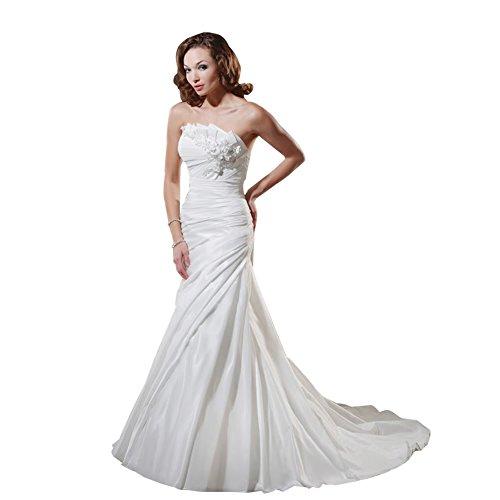 Brautkleider mit Hochzeitskleider Zug Taft Meerjungfrau BRIDE Perlen Elfenbein Kapelle Applikationen Trompete Schatz GEORGE qfz0OwR