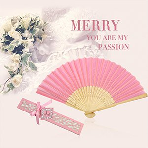FAN01-50IA Without Names Doris Home 50pcs Ivory White Silk Bamboo Handheld Folded Fan Wedding Favor Fan with Laser Cut Gift Box for White Bridal Gift Party Favors