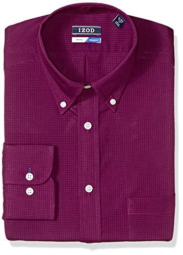 (IZOD Men's Dress Shirts Regular Fit Stretch Gingham, Royal Plum, 17