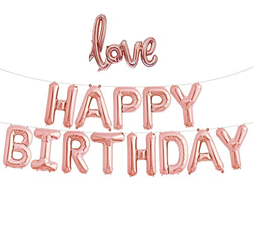 Rose Gold Happy Birthday Balloons, iPartyClub Aluminum Foil Birthday Banner Balloon with LOVE balloons for Birthday Party Decorations (Rose gold)