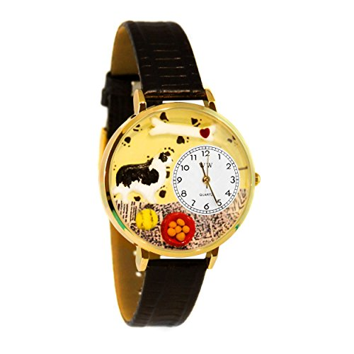 Whimsical Watches Unisex G0130028 Border Collie Black Skin Leather Watch (Watch Dog Puppy Charm)