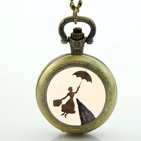 Costume Jewellery Watches (Pocket Watch Necklace Mary Poppins Necklace Mary Poppins Pocket Watch Art Picture Glass Dome Jewelry)
