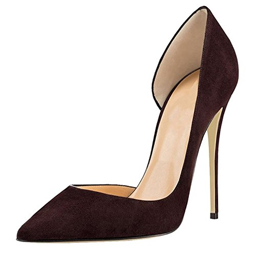 Brown Pumps Stiletto High Wedding Sexy Pointed Shoes Heel Plus On Lovirs Suede Slip Toe Party Size Womens H4ARqR