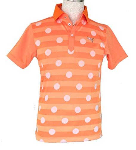 余裕がある施しペインティングPUMA(プーマ)ゴルフ ポルカドット ポロ VIBRANT ORANGE 902530-03 Sサイズ メンズ
