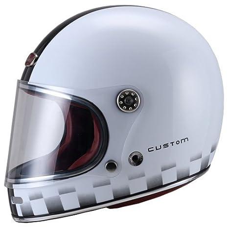 Amazon.es: Casco integral de motocicleta, barroco, retro, B510 Custom, color blanco brillante
