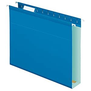 Pendaflex Extra Capacity Reinforced Hanging Folders, Letter Size, Blue, 25 per Box (04152X2 BLU)