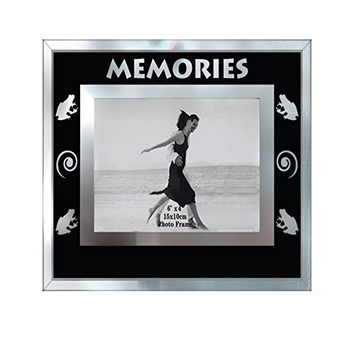 Frame Frog - Photo Frame 4x6 Modern Glass Picture Frame Memories Beach Shells Black Collection Wall or Table Top Frame for 4 x 6 Photo (Frog)
