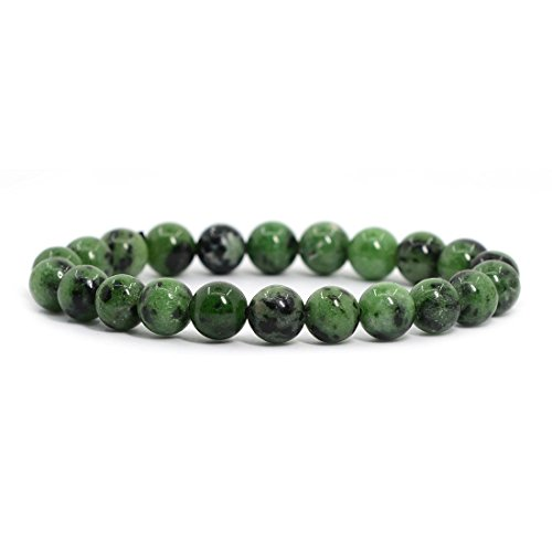 Natural Ruby in Zoisite Gemstone 8mm Round Beads Stretch Bracelet 7