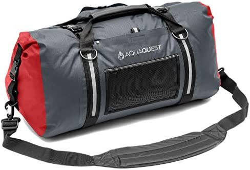 Aqua Quest White Water Duffel - 100 Waterproof Bag 50L, 75L 100L - Lightweight, Durable, External Pockets - Black, Charcoal, Red, Blue, Gray or Camo