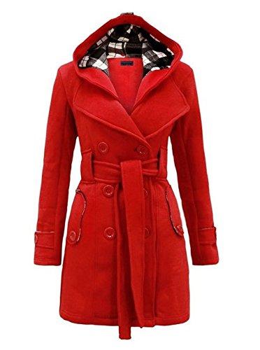 Leijing Hoodie Double Breasted Women Ladies Jacket Coat Belt Winter Outwear Purple L.